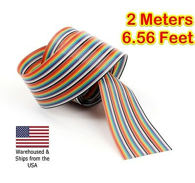 New 5M 16.4ft 40 WAY Flat Color Rainbow Ribbon Cable Wire Rainbow Cable