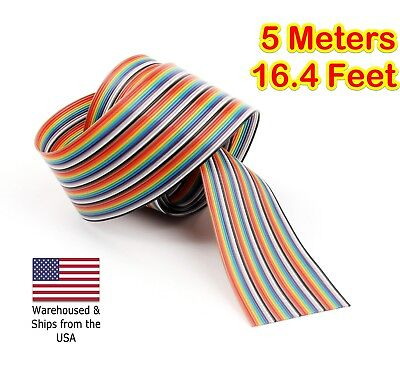 5m 16.4ft 40 Way 40 Pin Flat Color Rainbow Ribbon IDC Cable Wire Rainbow Cable