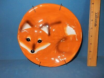 Hard To Find  Cute Fox Plate  Plate  Wal-Mart New / Hanger Safe For Food