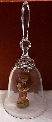 Lead Crystal Bell, Over 24% Lead Oxide, Dolfi Hand Carved Girl W/kittens Clapper