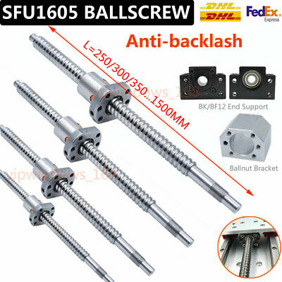 250-1000mm Antibacklash SFU1605 Rolled Ballscrew Ballnut BK/BF12+End Support Kit