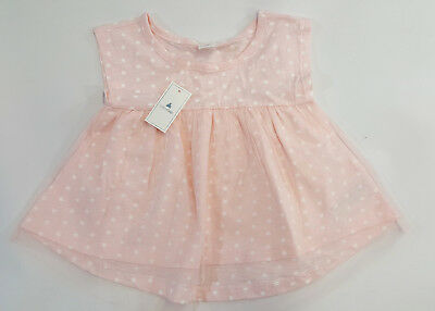 NWT Baby Gap Girls Size 2t or 5t Pink Star Tulle Layered Knit Swing Top Shirt