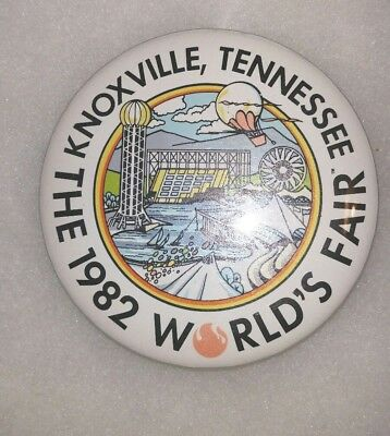 """Vintage 1982 Knoxville Tn Tennessee World's Fair Logo 3"""" Pinback Button Pin"""