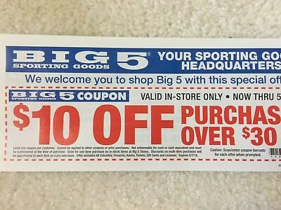 photo regarding Big 5 $10 Off $30 Printable identify Large 5 Wearing Solutions coupon $10 off $30 via July