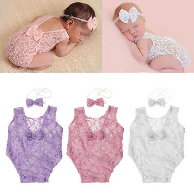 Photography Props Backless Hollow Bowknot Lace Romper Newborn Baby Girls Outfit