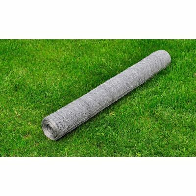 vidaXL 0.5x25m Galvanised Wire Netting Mesh Poultry Fencing Chicken Coop 36mm
