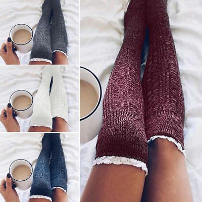 Women Winter Warm Lace Crochet Over Knee Long Socks Thigh High Knitted Stockings