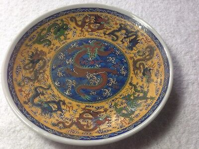 Rare Antique Chinese Porcelain Famille Rose Dragon Plates Signed