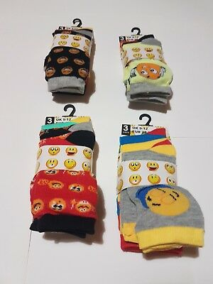 3 Pairs Children Girls Boys Emoji Socks Emotions Character Smiley Faces FUN CART