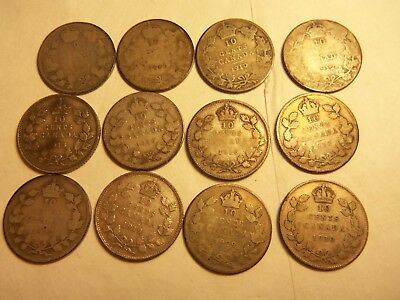 lot of 12 0ld canada dimes 1907 to 1930