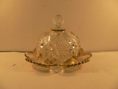 vintage Cheese Dish with Cover and gold edging