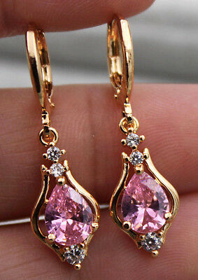18K Yellow Gold Filled - 1.2'' Hollow Teardrop Pink Topaz Zircon Drop Earrings