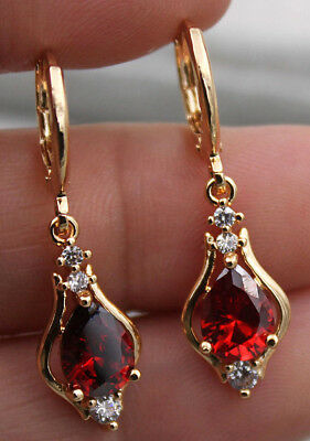 18K Yellow Gold Filled - 1.2'' Hollow Teardrop Ruby Topaz Zircon Gems Earrings