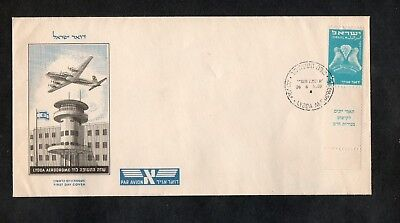 Israel Scott #C1 1st Airmail Full Tab on Official Lydda Airport FDC!!