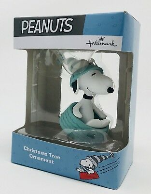 Peanuts Snoopy Sledding Hallmark Collectible Christmas Holiday Ornament 2017