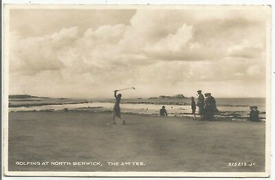 POSTCARDS-SCOTLAND-NORTH BERWICK-GOLF-RP. Lady Golfer Teeing Off The 2nd Tee.