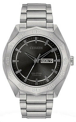 Citizen AW0060-54H Men's Eco Drive Super Titanium Gray Dial Day Date Watch