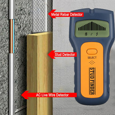 Wire Detector Wall Wood Scanner 3in1 LCD Stud Center Finder AC Live Multi Metal