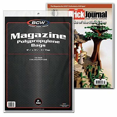 Lot 100 Standard Regular Size Magazine Sleeves Bags Pack Bcw Storage Protector