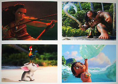 """4 Disney Store Presale Lithographs: Disney's Moana 2017 10"""" x 14"""" Limited Issue"""