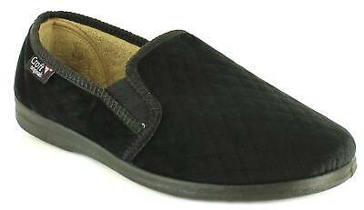New Mens/Gents Black Croft Full Slippers With Elasticated Gussets. UK Size