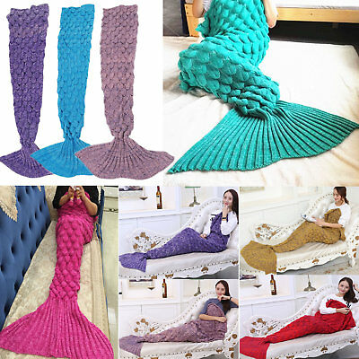 Scaled Mermaid Tail Sofa Blanket Crocheted Knitting Super Soft for Kids Adults