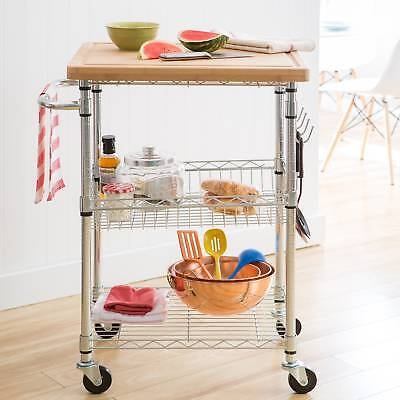Trinity Bamboo Top Kitchen Cart Rolling Wheels Steel Serving Wire Storage  Rack