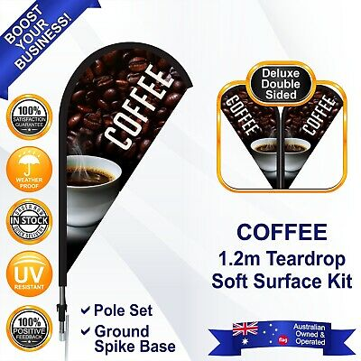 COFFEE Deluxe Brown 1.2m Teardrop Flag/Banner Kit with Spike *Promotional