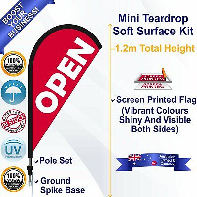 OPEN Red 1.2m Teardrop Flag/Banner Kit with Spike *Advertising *Waterproof