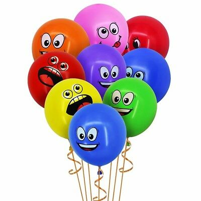 "20Pcs 12"" Emoji Birthday Party Balloons Thick Smiley Latex Ballons for Wedding"