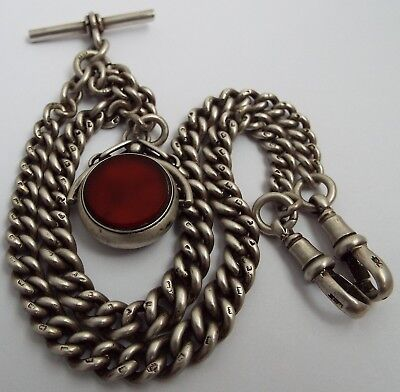 Superb Clean Heavy Antique 1919 Solid Silver Double Albert Watch Chain & Spinner