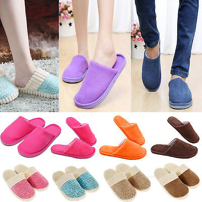 Womens Mens Winter Soft Fleece Slippers House Indoor Home Slip On Cotton Shoes