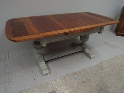 Antique Oak Painted Shabby Chic Refectory Dining Table ref46264