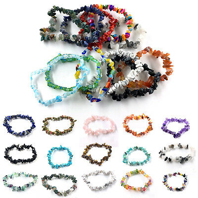 15 Colors Unisex Women Men Gemstone Crystal Chip Beaded Stretch Charm Bracelet