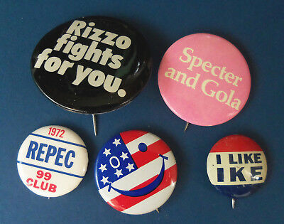 Political Buttons Pinbacks Philadelphia Interest Rizzo Specter Smiley Face Flag
