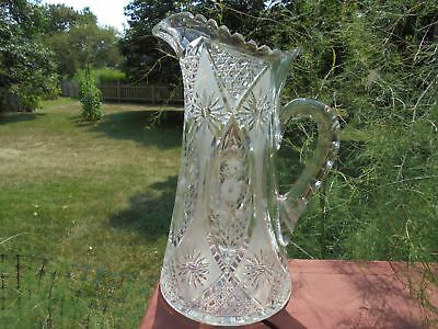 Old Antique Cut Glass Tankard Style Water Pitcher w Etched Flowers 10 7/8""