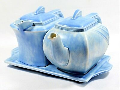 Rare Clews & Co ' Perfecto ' Teapot Hot Water Pot & Tray Set Art Deco 1930's