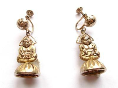 VINTAGE 1940's GOLD TONE FIGURAL BUDDHA GOD DANGLE DROP SCREW FASTEN EARRINGS