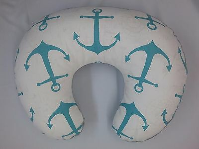 Boppy Cover, Nursing Pillow  Cover, Boppy Slip Cover, Aqua Anchor, Grey Minky