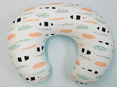 Feather multi color print ( aqua, peach, mint, black, blue...) Boppy Cover