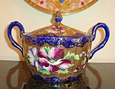 Nippon Cobalt Blue Gold Gilt Moriage Hand Painted Pink Roses Lidded Bowl