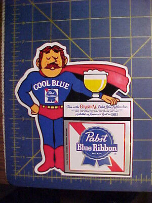 Vintage Unused Pabst Blue Ribbon Cool Blue Man Decal! Pbr Sticker P-645