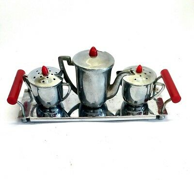 Art Deco 1930s Tea Set Cruet Chrome Phenolic Vintage Novelty