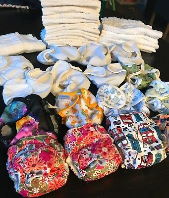 Complete Newborn Cloth Diaper Lot (All-In-Ones, Prefolds, Covers & Snappis)