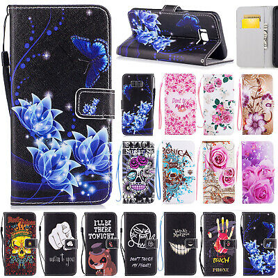 For Samsung Galaxy S9/S8/S7/S6/S5/Note8 Pattern Leather Wallet Case Stand Cover
