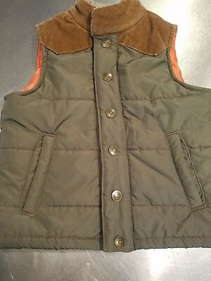 CARTER'S ~ 4 ~ Toddler Boy's Puffer Vest ~ Army Green, Brown, orange lined