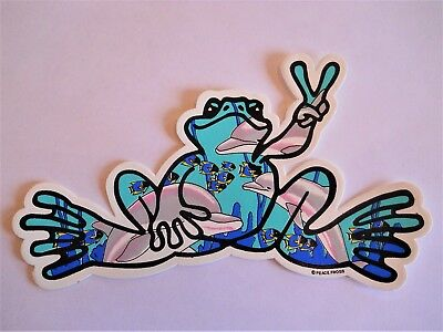 "Peace Frogs Dolphin Frog Sticker - 6"" x 3""- High Quality Vinyl - Made in USA"