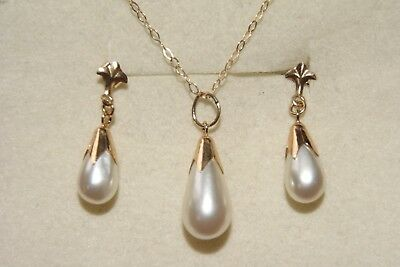 9ct Gold Pearl Pendant and Chain Made in UK Gift Boxed Necklace