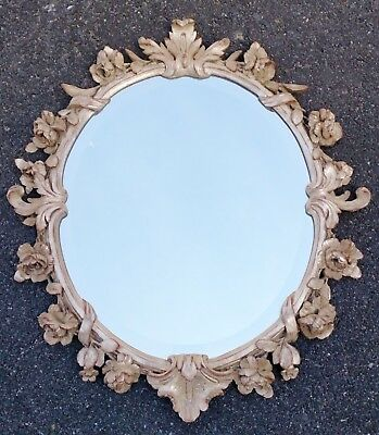 Great Acanthus Carved French Style ROCOCO Silver Gilt BEVELED Floral MIRROR