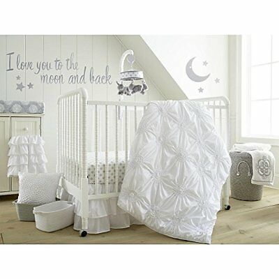 Levtex Baby Willow 5-Piece Crib Bedding Set - White Wall Decals with I Love You